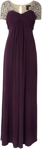 Mat Jersey Maxi Dress with Bead Cap Sleeves - Lyst