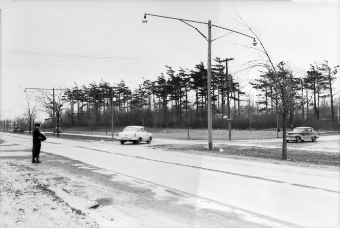 Danforth Avenue, looking northeast across Birchmount Road, 1955