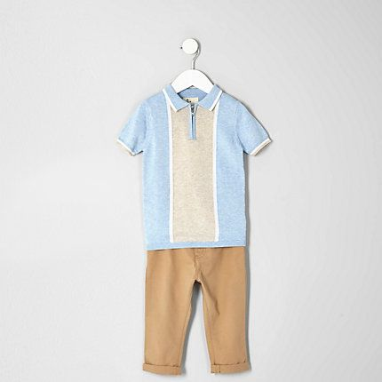 Mini boys blue polo and slim fit chino set