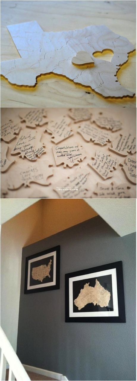 Custom Puzzle - Wedding Guest Book Alternative. Puzzle your guests (pun intended) with a custom photo wooden puzzle guest book. One of the few and unique items from your wedding day that you can display for years to come. You can personalize the shape (trees, states, and countries are popular).