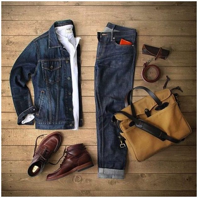 Outfit grid - double denim perfection outfit grids мужская п Double Denim, Komplette Outfits, Casual Outfits, Fashion Outfits, Mode Masculine, Stylish Men, Men Casual, Stylish Clothes, Cool Tuxedos