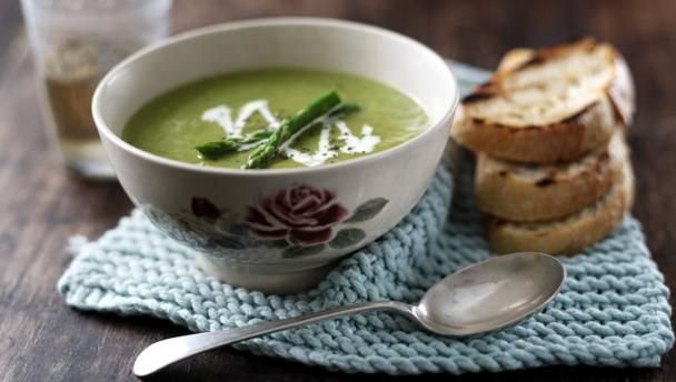 Asparagus soup        Make the most of the short asparagus season with this simple yet delicious soup.