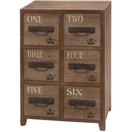 Wood chest with numbered apothecary-inspired drawers and crown accents.        Product: Chest  Construction Material:...
