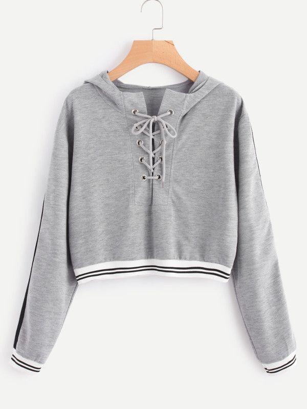 52d15b5ffc Eyelet Lace Up Stripe Trim Hoodie -SheIn(Sheinside)   Sweatshirts. G ...