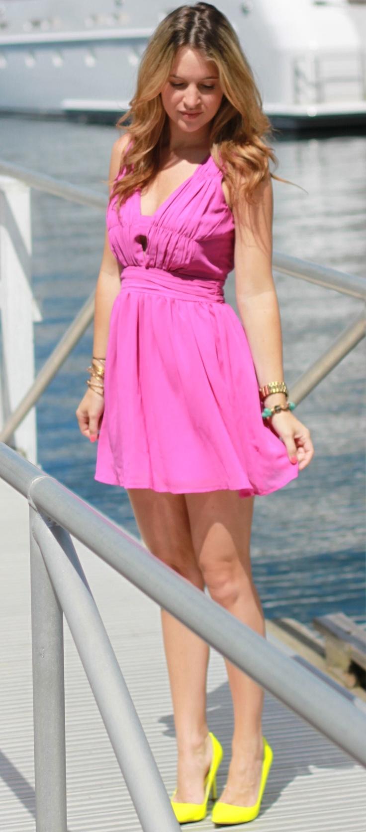 pink dress and yellow shoes dress uk