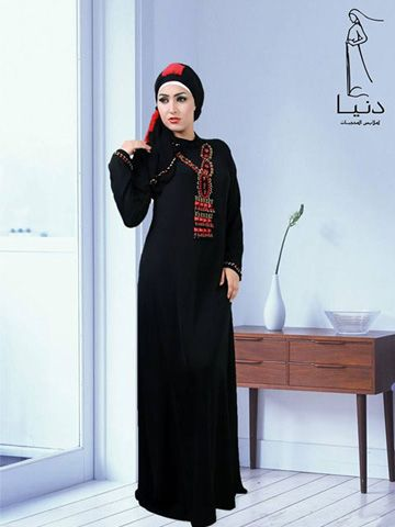 """Fajr Fashion Abaya Pullover abaya, hand beaded by stones on bodice and around cuffs. Hijab (scarf) included size  65cm x 175 cm /  25.6"""" x 68.9"""" Fabric: Korean Crepe Washing Instructions: Machine Wash Tailored and designed by """" Donia Abayas by Donia hand beaded, never two abayas are exactly identical"""