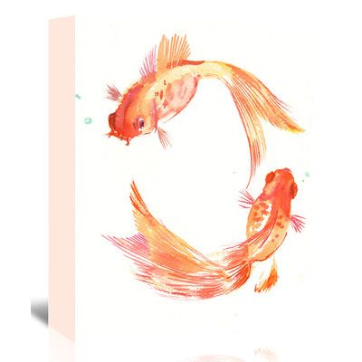 "East Urban Home Goldfish Feng Shui  Painting Print on Wrapped Canvas Size: 20"" H x 16"" W x 1.25"" D"