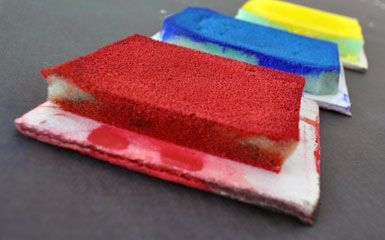 Primary Stamp Pads using upholstery foam - looks like it would work better than ordinary household sponges