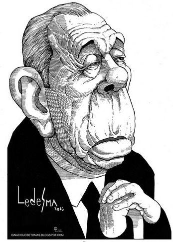 Jorge Luis Borges, tinta sobre papel, 2016.