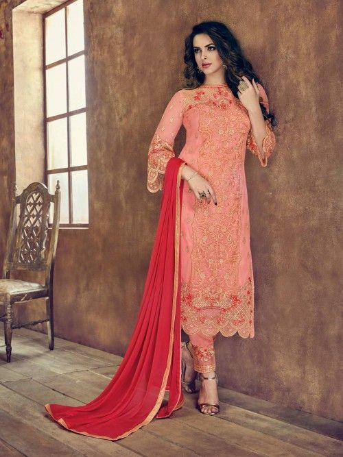 0531a8021a Delectable peach designer straight cut suit online which is crafted from  net fabric with exclusive embroidery work. This stunning designer Straight  Cut suit ...