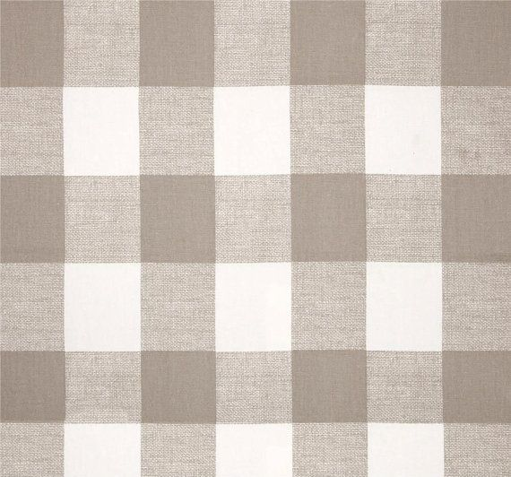 "Buffalo Check Drapes, Ecru/Taupe Transitional Curtains, Modern Plaid Window Treatments, Neutral Curtain Panels, One Pair, 50""W Rod-Pocket"