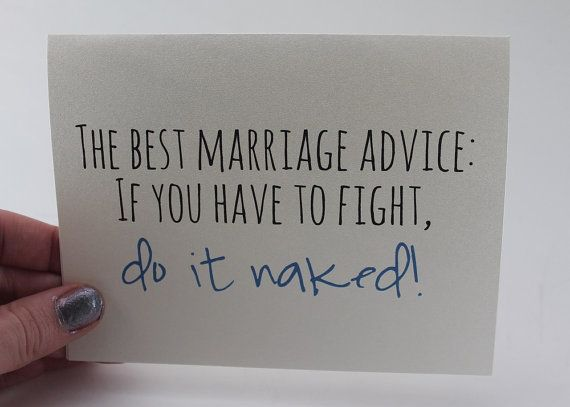 Wedding Card / Marriage Advice Card / Funny Card / Humorous Advice / Fight Naked