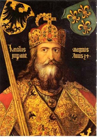 """Charlemagne was King of the Franks from 768 and Emperor of the Romans from 800 to his death in 814. Referred to as the """"father of Europe"""", his empire united most of Western Europe for the first time since the Romans, and the Carolingian renaissance (a revival of art, religion, and culture through the medium of the Catholic Church) encouraged the formation of a common European identity. The French and German monarchies descending from the empire ruled by Charlemagne cover most of Europe."""