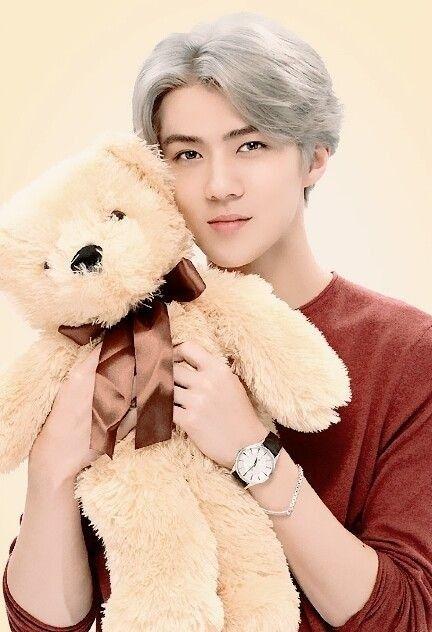 EXO SEHUN Sehun with a teddy bear...