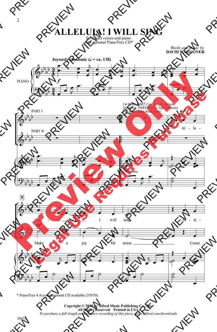 John denver grandma s feather bed sheet music - Alleluia I Will Sing Two Part By David W J W Pepper Sheet Musicpepperthe