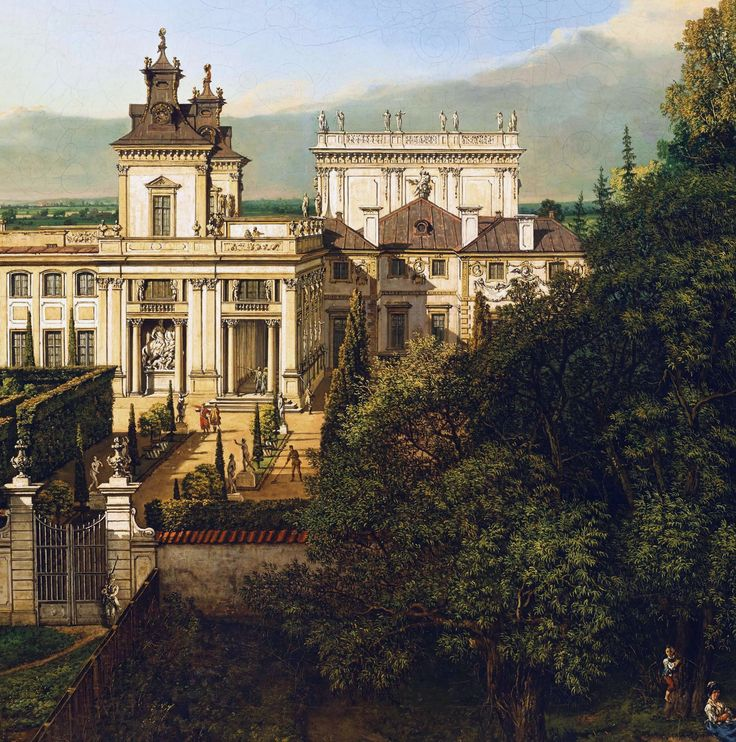 "Detail of Wilanów Palace as seen from south by Bernardo Bellotto, 1777 (PD-art/old), Zamek Królewski w Warszawie (ZKW), commissioned by Stanislaus Augustus, after 1771 the palace was owned by King's cousin Izabela Lubomirska ""The Blue Marquise"""