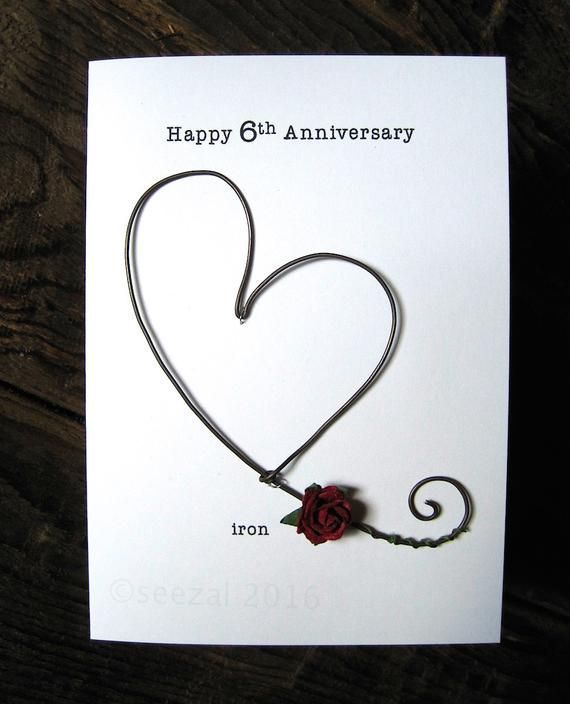 Happy 6th Wedding Anniversary Keepsake Card Iron Wire Heart 6 Years Traditional In 2020 6th Wedding Anniversary Wedding Anniversary Keepsake Wedding Anniversary Wishes
