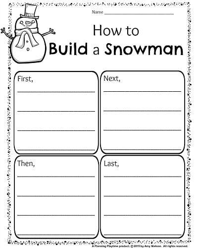 1st Grade December Writing worksheet - How to build a Snowman Writing organizer.