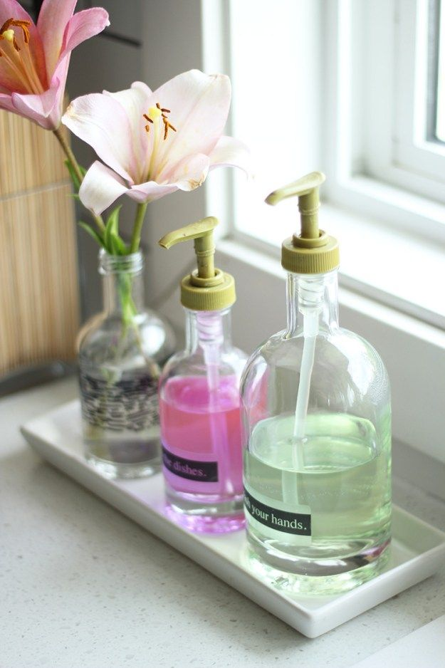 DIY soap dispensers with inkjet printed labels.