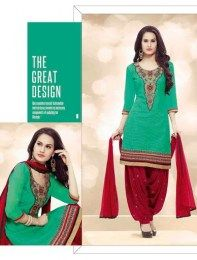 Sea Green Color Beautiful Unstitched Fashionable Embroidered Patiala Suit