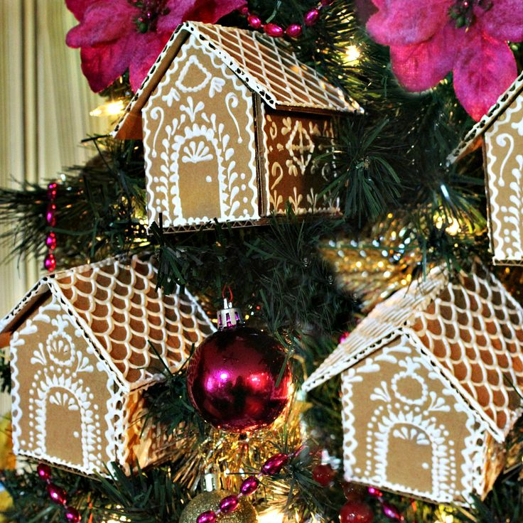 Cardboard Gingerbread House Ornaments!