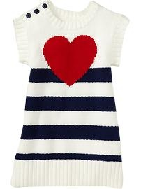 Striped Heart print Sweater Dress Cute for Valentines Day!