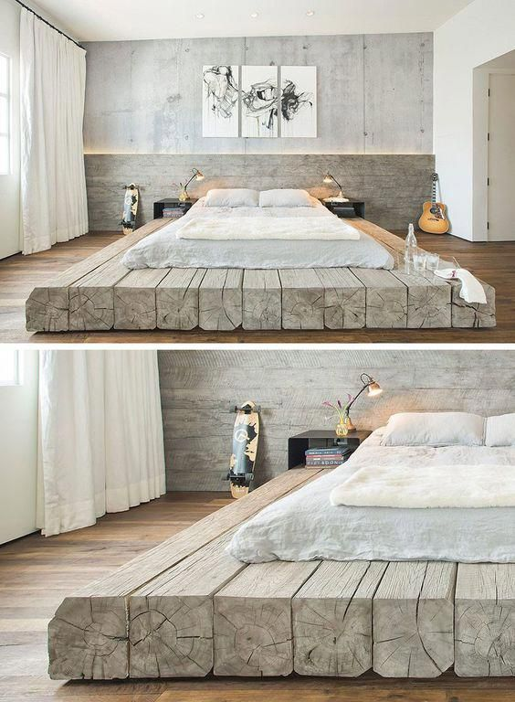 BEDROOM DESIGN IDEA   Place Your Bed On A Raised Platform // This Bed  Sitting On Platform Made Of Reclaimed Logs Adds A Rustic Yet Contemporary  Feel To The ...