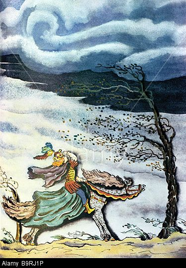 An illustration by Vladimir Konashevich to Alexander Pushkin's  Tale of the Dead Tsarevna and the Seven Epic Heroes