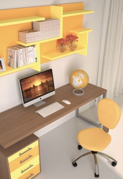 BADROOM - Scrivanie per camerette Scrivania lineare con cassettiera a quattro cassetti e gamba in metallo e gruppo di mensole laccate