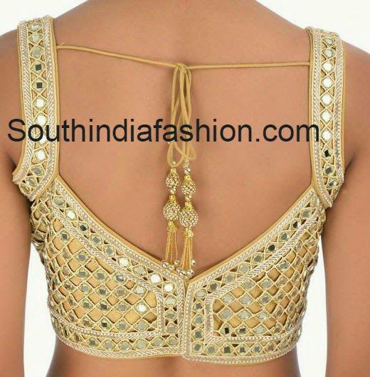 Cut Work Mirror Work Blouse ~ Celebrity Sarees, Designer Sarees, Bridal Sarees, Latest Blouse Designs 2014