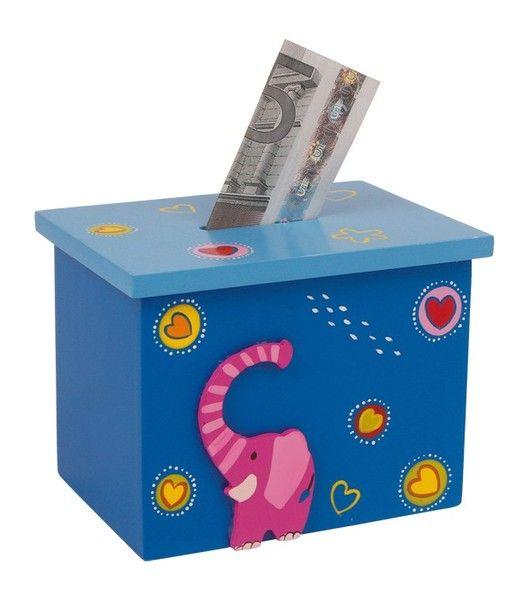 Spardose mit Namen  Elefant blau von Schnullerkette by baby name for u auf DaWanda.com