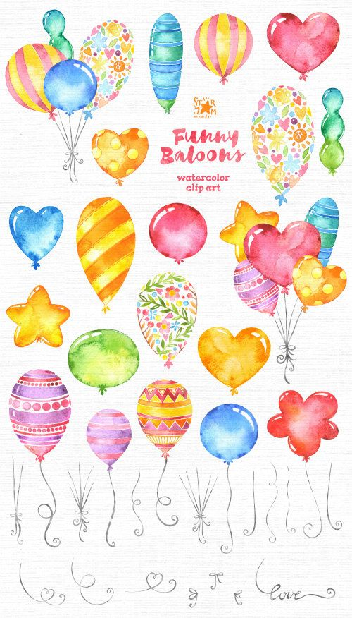 Funny Baloons. Watercolor clipart greetings card by StarJamforKids