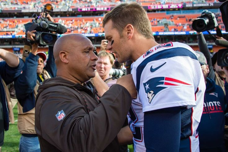 Patriots vs. Browns:     October 9, 2016   -  33-13, Patriots  -     Head coach Hue Jackson of the Cleveland Browns congratulates quarterback Tom Brady #12 of the New England Patriots after the game at FirstEnergy Stadium on October 9, 2016 in Cleveland, Ohio. The Patriots defeated the Browns 33-13.