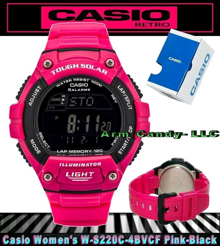 Hot new Casio Tough Solar runners watch in all Pink with Black digital LCD display. Soft pink silicone straps.  On sale now for $45!  #armcandyllc #armcandy #casio #casiowatch #tough #solar #solarpower #engine #pink #black #watch #watches #wristwatch #runner #running #sprint #sprinter #jog #joggers #jogging #hot #fly #style #fashion