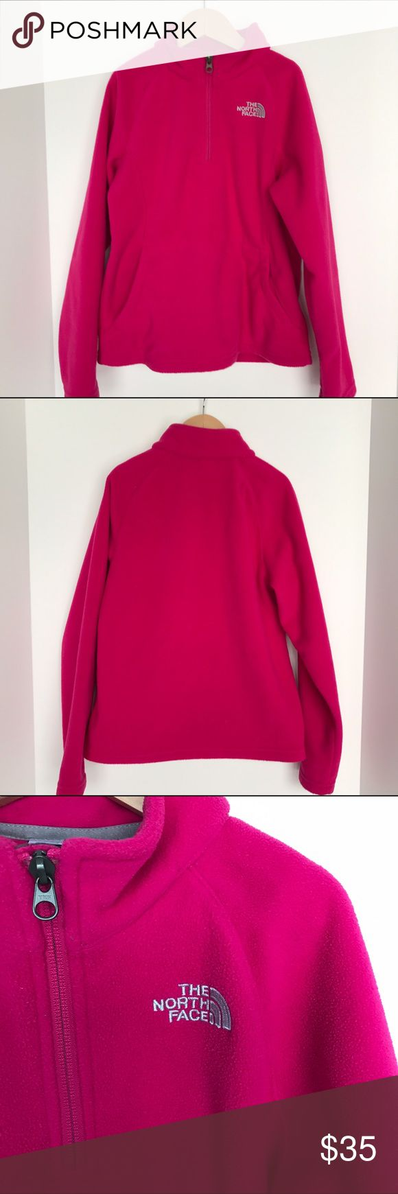 Girls North Face Bright Pink 3/4 zip fleece M10-12 Girls size Med10-12. The North Face. 3/4 zip kangaroo pocket in front. Heavier than the normal 3/4 zip fleeces. No stains. Comes from a smoke and pet free home The North Face Jackets & Coats