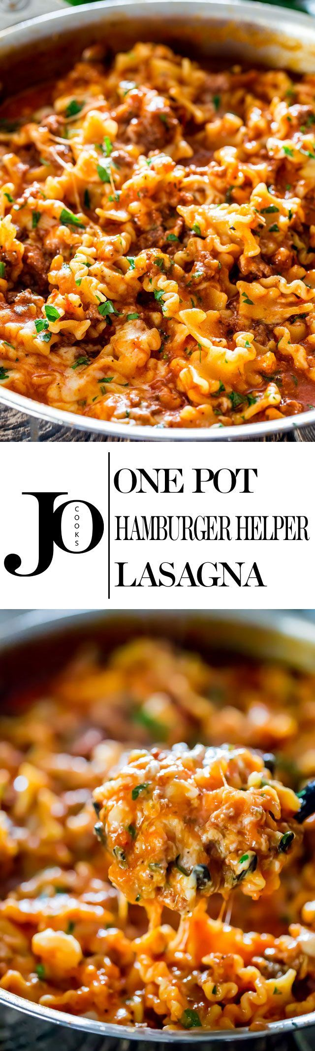 One Pot Hamburger Helper Lasagna - ditch the boxed mix Hamburger Helper and make your own, lasagna style, much healthier and homemade. Comfort food at its finest.