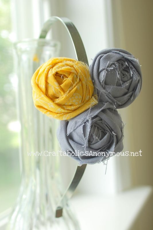 yellow gray rosette headband on http://www.craftaholicsanonymous.net