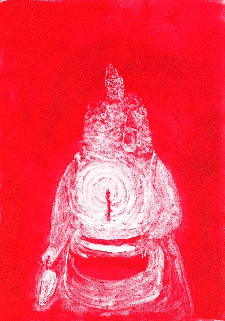 Red (happy birthday), monotype on paper, 2016