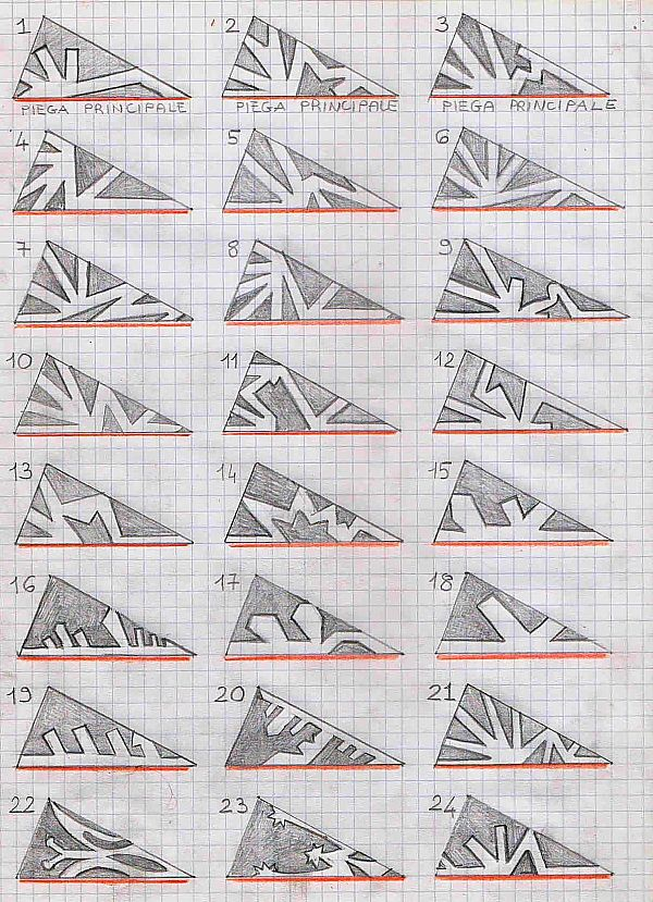 Models for paper snowflakes.  Site is in Italian but you can get the idea from the image. Just cut out the darker area.