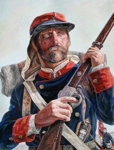 La Guerra del Pacífico 1879-1884 (Perú, Bolivia y Chile): Soldado chileno del 3° de linea del Ejército de Chile, se aprecia la frazada, los correajes de la mochila cama, el mango de un corvo, un kepi y su respectivo cubrenuca, detrás de él aparece un portaestandarte.