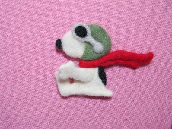Needle Felted Snoopy as the Flying Ace Pin