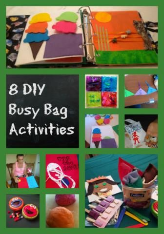 8 busy bag activity ideas- tying shoes, colour, shape sorting, patterning, body parts, sensory bags, fine motor skill crafts- amazing ideas to keep your toddler busy or quiet when you are on the go!  Perfect for restaurants or car rides!
