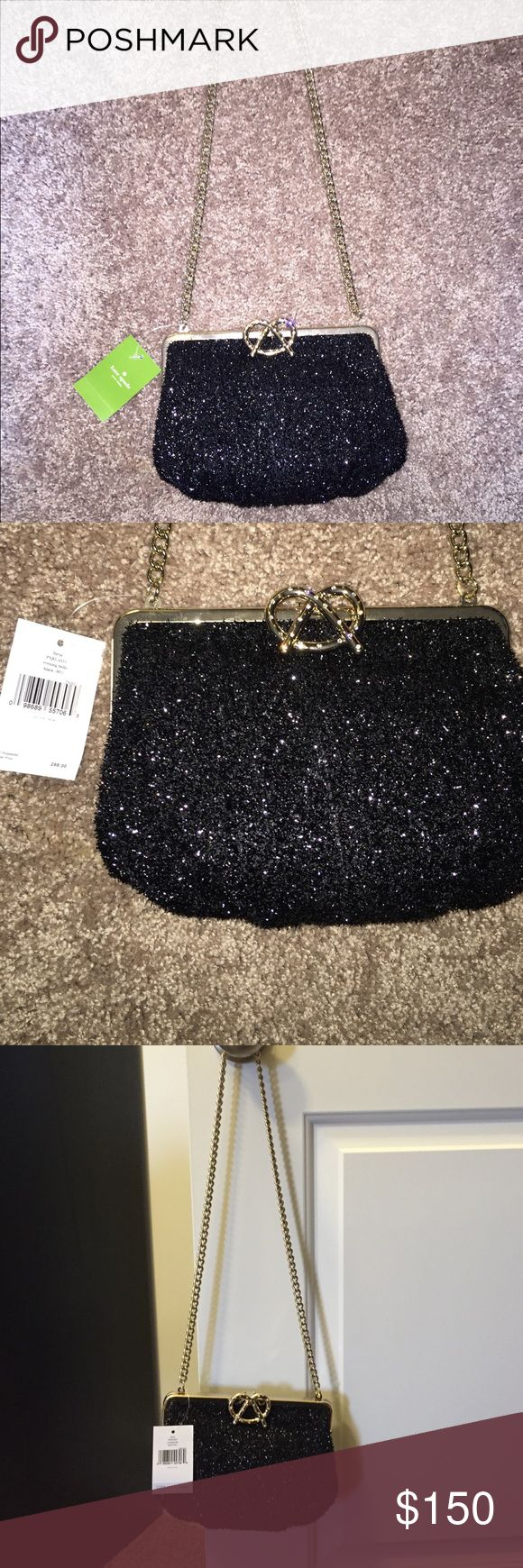 Kate Spade Long Chain Pretzel Clutch w. Rhijstones Brand new with tags. Kate Spade Pretzel Clutch with Chain. Shimmery black and silver rhinestone encrusted pretzel . Brand new never used originally $298.00 comes w dust bag as well. kate spade Bags Clutches & Wristlets