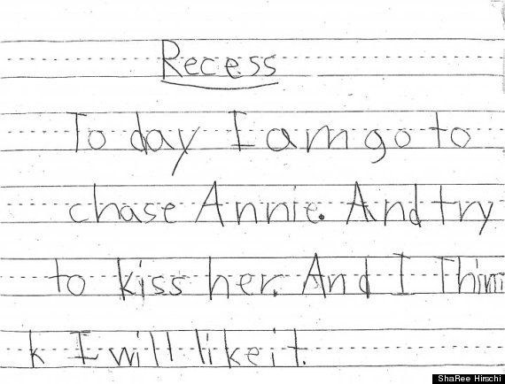 Cute Kid Note Of The Day: (Made me laugh because my daughter was sent to the principles for the first time because she's been chasing the boys and trying to kiss them at recess.)