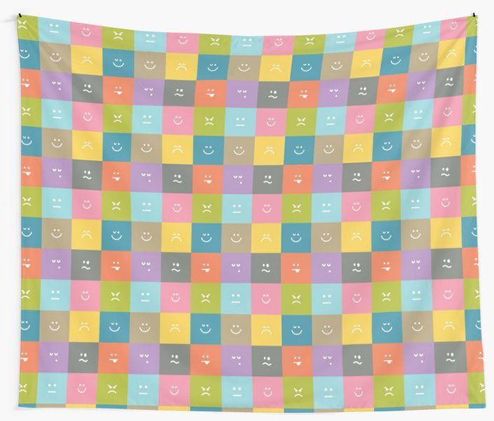 Emoji Emoticon Pattern Illustration by Gordon White | Emoji Wall Tapestry Available in 3 Sizes @redbubble --------------------------- #redbubble #emoji #emoticon #smiley #faces #cute #addorable #pattern #walltapestry #tapestry #homedecor #bedroom #livingroom