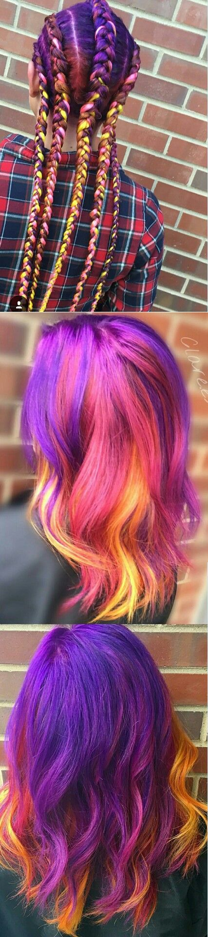 Purple yellow braided multi dyed hair color @clare.es