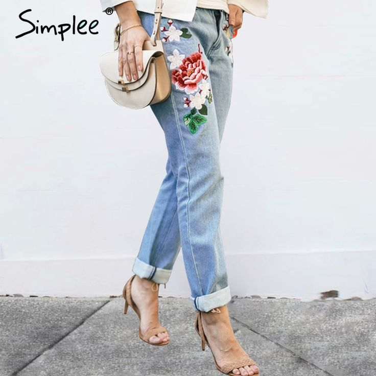 Floral embroidery jeans //Price: $47.95 & FREE Shipping //     #stylish