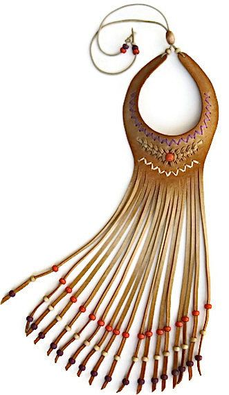 Beige Suede Choker with Fringe, Wood & Bead work in orange by karenkell, this isnt that cute but sparks up some creative ideas with leather