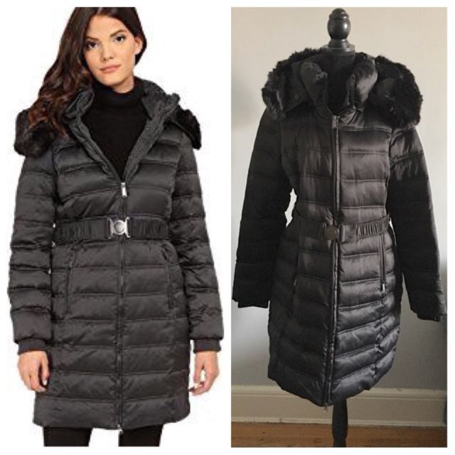 DKNY Down Coat Black Puffer Coat Size Large | eBay