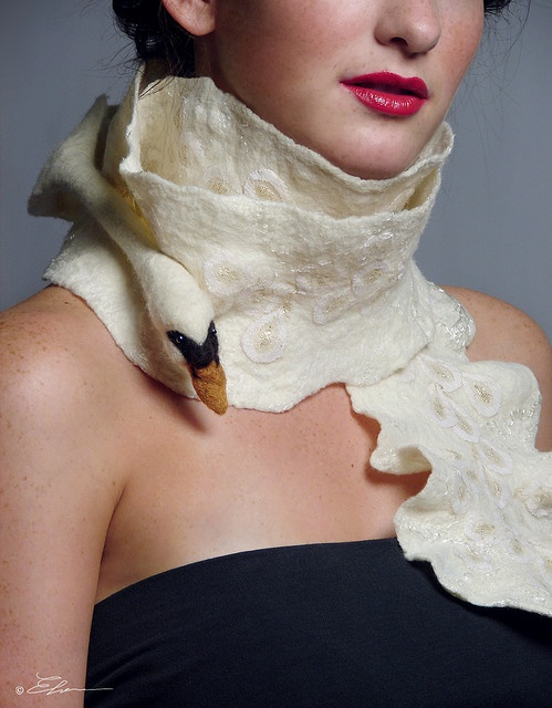 swan felted scarf.. perfectly beautiful